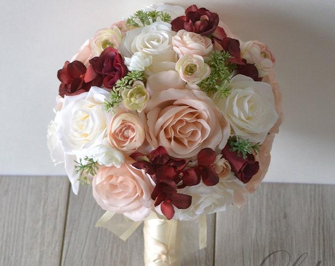 Wedding Bouquet, Bridal Bouquet, Bridesmaid Bouquet, Silk Flower Bouquet, Wedding Flower, Rose Gold, ivory, burgundy, peach, Lily of Angeles