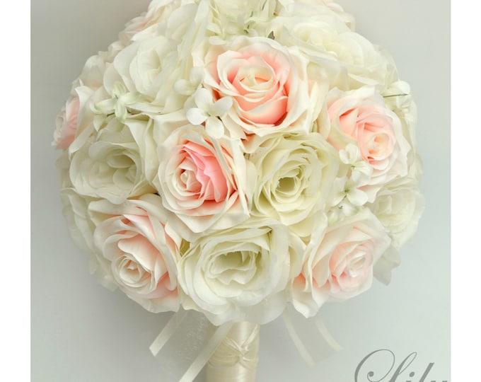 Wedding Bouquet, Bridal Bouquet, Bridesmaid Bouquet, Silk Flower Bouquet, Wedding Flowers, 17 Piece Package, Blush, Petal, Lily of Angeles
