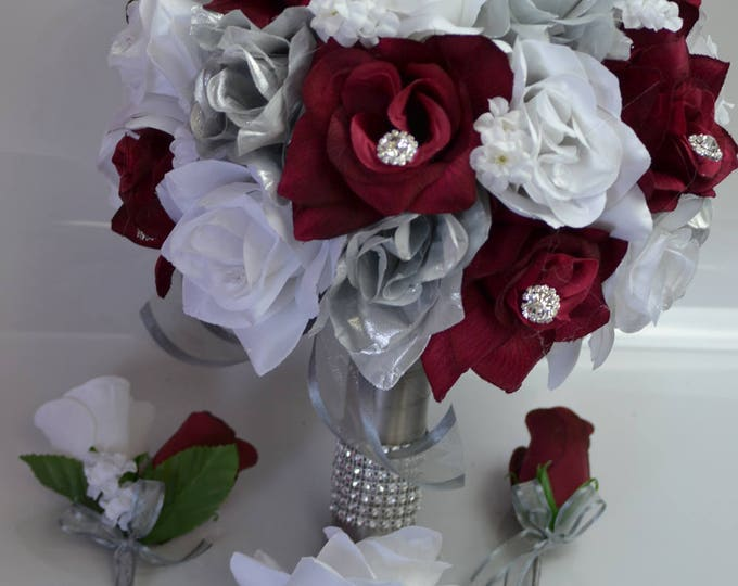 Wedding Bouquet Burgundy, Bridal Bouquet, Bridesmaid Bouquet, Silk Flower Bouquet, Wedding Flower, Maroon, Wine, Silver, Lily of Angeles