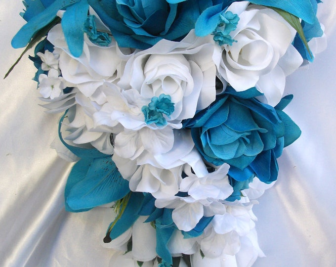 Wedding Bouquet, Bridal Bouquet, Bridesmaid Bouquet, Silk Flower Bouquet, Wedding Flowers, Silk Bouquet, 17 Piece Package, Lily of Angeles