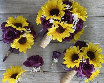 Wedding Bouquet, Bridal Bouquet, Bridesmaid Bouquet, 17 PIECE PACKAGE, Silk Flower, Wedding Flower, Plum, Purple, Sunflower, Lily of Angeles