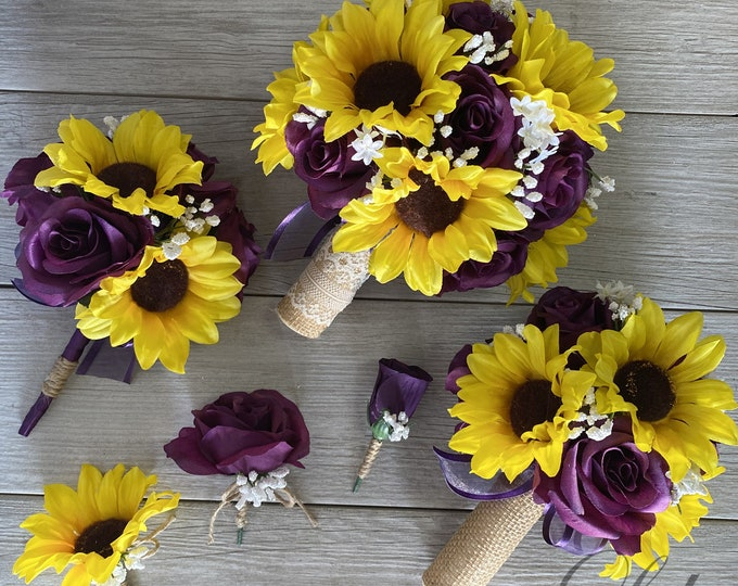 Wedding Bouquet, Bridal Bouquet, Bridesmaid Bouquet, Silk Flower, Wedding Flower, Plum, Purple, Sunflower, Lily of Angeles