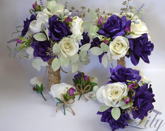 Wedding Bouquet, Bridal Bouquet, Bridesmaid Bouquet, Silk Flower Bouquet, Wedding Flower, Silk Bouquet, Purple, Mauve, Green Lily of Angeles