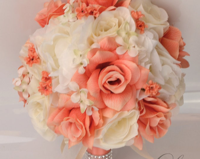 Wedding Bouquet, Bridal Bouquet, Bridesmaid Bouquet, Silk Flower Bouquet, Wedding Flowers, 17 Piece Package, Coral, Ivory, Lily of Angeles
