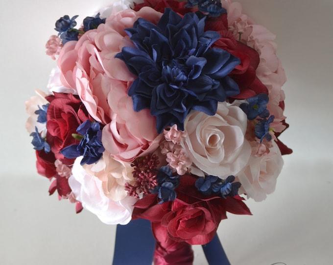 Wedding Bouquet, Bridal Bouquet, Bridesmaid Bouquet, Silk Flower Bouquet, Wedding Flower, burgundy, navy, mauve, dusty Rose, Lily of Angeles