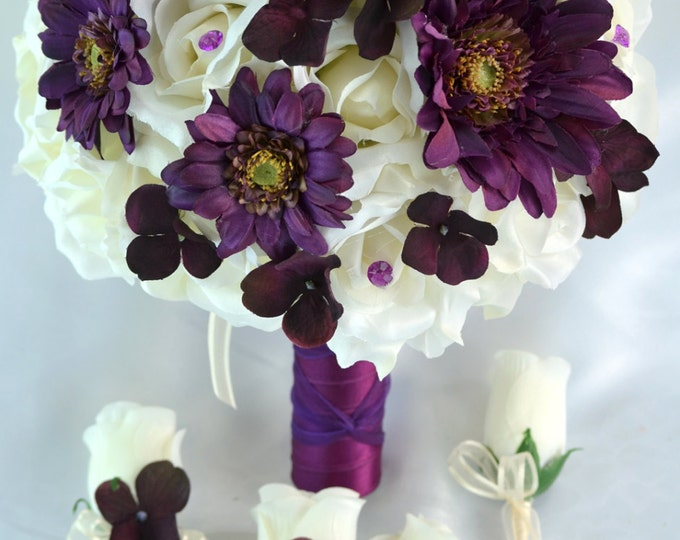 Wedding Bouquet, Bridal Bouquet, Bridesmaid Bouquet, Silk Flower, Wedding Flower, Silk Bouquet, 17 Piece Package, PLUM, Wine Lily of Angeles