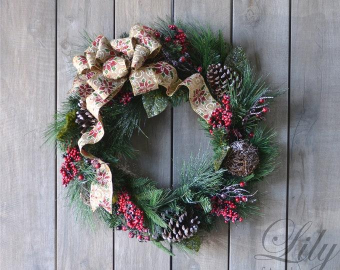 Christmas Wreath, XMas Wreath, Winter Wreath, Elegant Country Wreath, Burlap and Berries Christmas Wreath, Country Wreath, Lily of Angeles