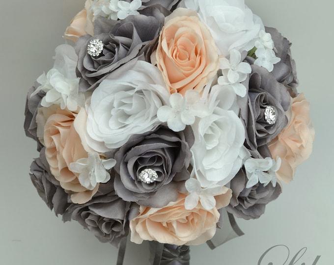 Wedding Flowers, Wedding Bouquet, Bridal Bouquet, Bridesmaid Bouquet, Silk Flower, 17 Pieces, Peach, gray, Charcoal, Blush, Lily of Angeles