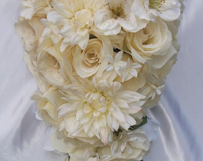 Wedding Bouquet, Bridal Bouquet, Bridesmaid Bouquet, Silk Flower Bouquet, Wedding Flowers, 17 Piece Package, Cascade, Ivory, Lily Of Angeles