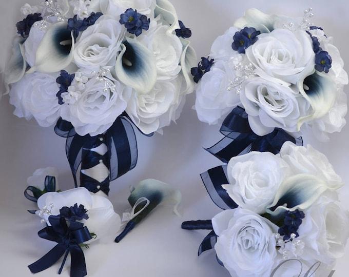 Wedding Bouquet, Bridal Bouquet, Bridesmaid Bouquet, Silk Flower Bouquet, Wedding Flower, 17 Piece Package, Navy, Dark Blue, Lily of Angeles