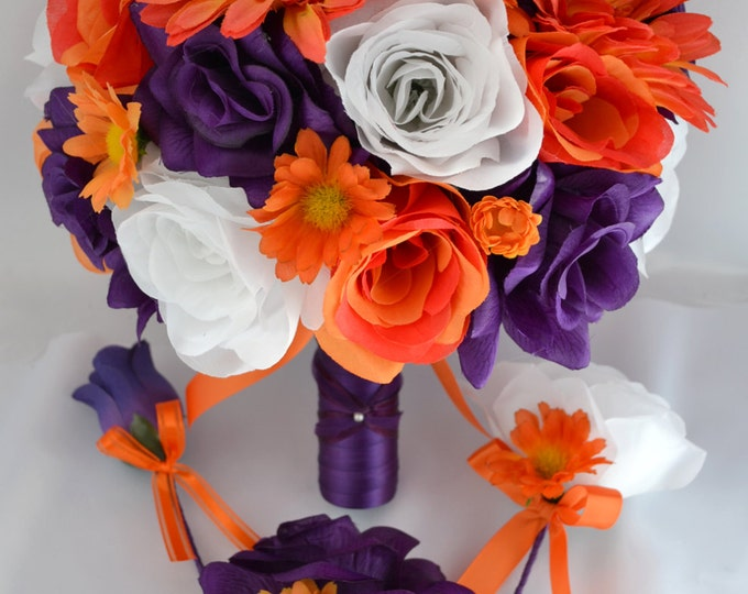 Wedding Bouquet, Bridal Bouquet, Bridesmaid Bouquet, Silk Flower Bouquet, Wedding Flowers, 17 Piece Package, Purple, Orange, Lily of Angeles