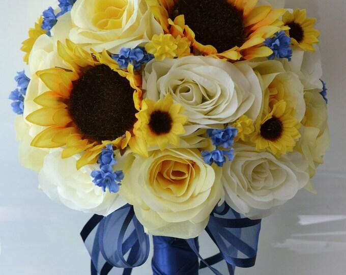 Wedding Bouquet, Bridal Bouquet, Silk Flower Bouquet, Wedding Flowers, Bridesmaids bouquets, Sunflower, Navy Blue, Yellow, Lily of Angeles