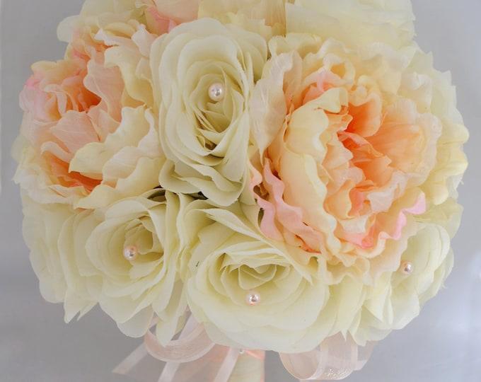 Wedding Bouquet, Bridal Bouquet, Bridesmaid Bouquet, Silk Flower Bouquet, Wedding Flowers, 17 Piece Package, Peach, Ivory, Lily Of Angeles