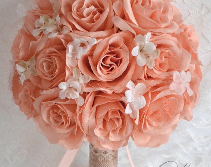 Wedding Bouquet, Bridal Bouquet, Bridesmaid Bouquet, Silk Flower Bouquet, Wedding Flowers, 17 Pieces, Rustic, Burlap, Peach, Lily of Angeles