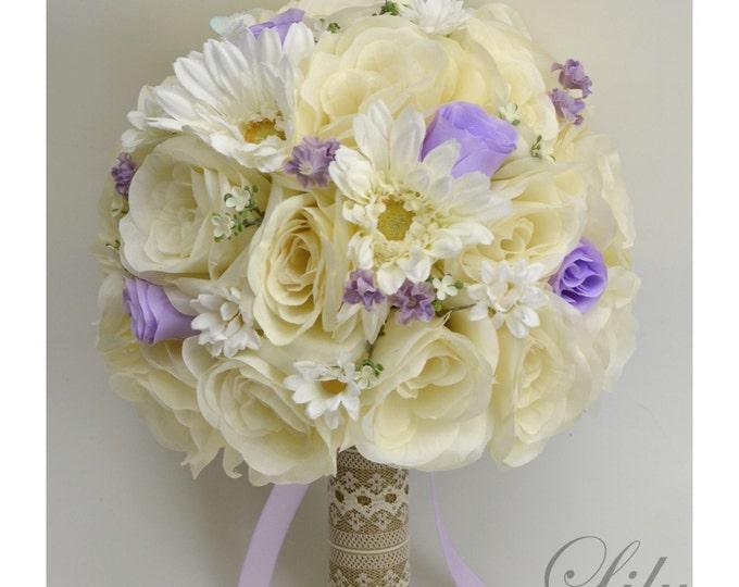 Wedding Bouquet, Bridal Bouquet, Bridesmaid Bouquet, Silk Flower Bouquet, Wedding Flowers, 17 Pcs, Lavender, Burlap, Rustic, Lily of Angeles