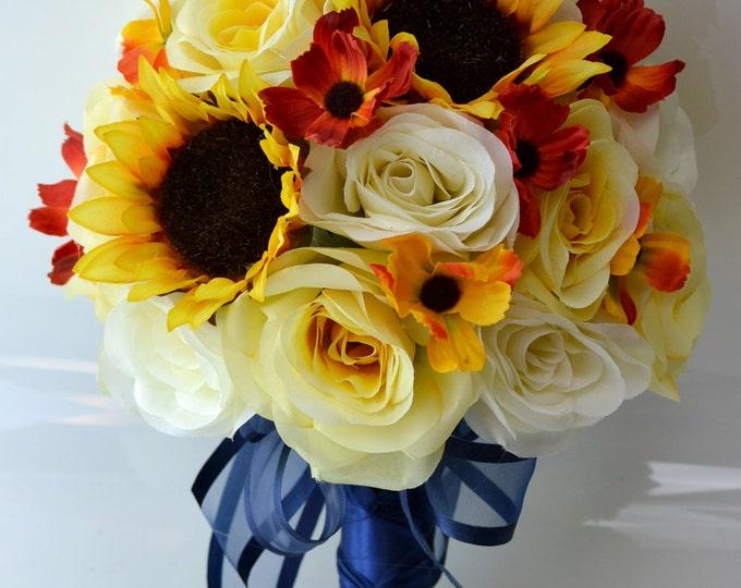 Wedding Bouquet, Bridal Bouquet, Bridesmaid Bouquet, Silk Flower Bouquet, Wedding Flowers, 17 Pcs, Blue, Yellow, Sunflower, Lily Of Angeles