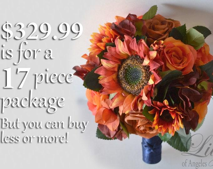 Wedding Bouquet, Bridal Bouquet, Bridesmaid Bouquet, Silk Flower Bouquet, Wedding Flower, Orange, Burnt Orange, Sunflower, Lily of Angeles