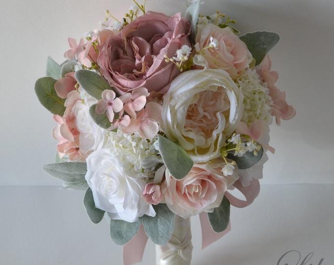 Wedding Bouquet, Bridal Bouquet, Bridesmaid Bouquet, Silk Flower Bouquet, Wedding Flower, Dusty Pink, Mauve, Blush, Peach, Lily of Angeles