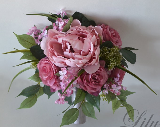 Wedding Bouquet, Bridal Bouquet, Bridesmaid Bouquet, Silk Flower Bouquet, Wedding Flower, mauve, wisteria, dusty Rose, pink, Lily of Angeles