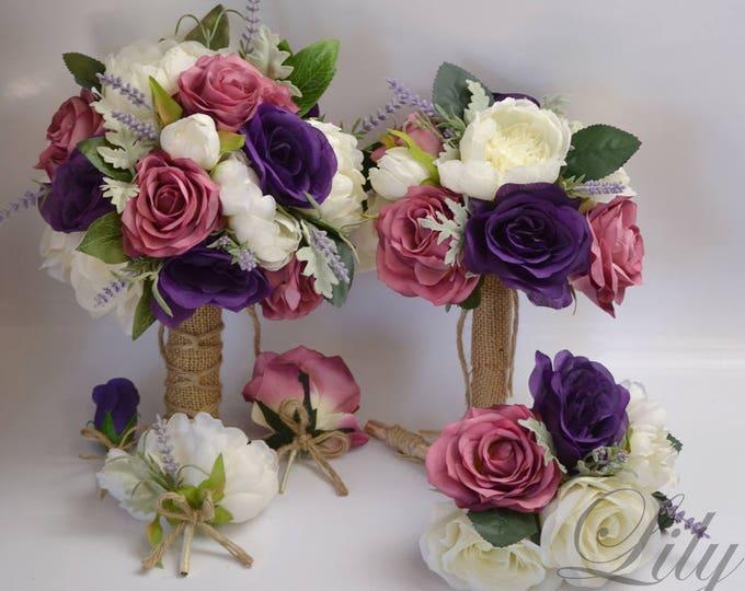 Wedding Bouquet, Bridal Bouquet, Bridesmaid Bouquet, Silk Flower Bouquet, Wedding Flowers, 17 Piece Package, Purple, Mauve, Lily of Angeles