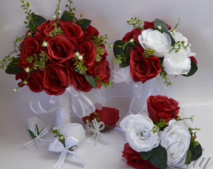 Wedding Bouquet, Bridal Bouquet, Bridesmaid Bouquet, Silk Flower Bouquet, Wedding Flowers, 17 Piece Package, Red, Apple Red, Lily of Angeles