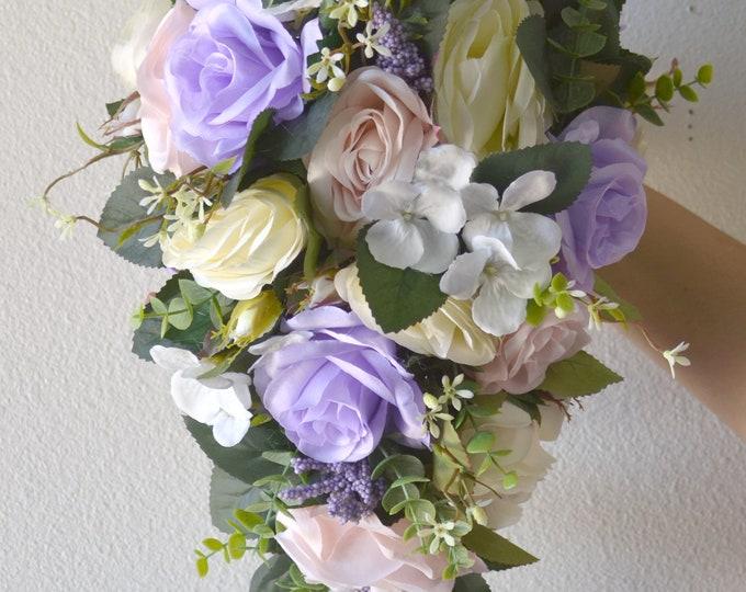 Cascade Wedding Bouquet, Teardrop Bridal Bouquet, Silk Flower Bouquet, Wedding Flower, baby pink, lavender, ivory, Lily of Angeles