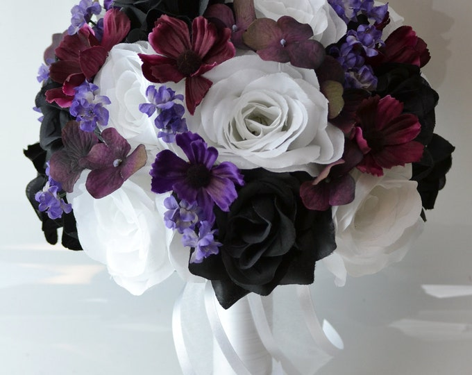 Wedding Bouquet, Bridal Bouquet, Bridesmaid Bouquet, Silk Flower Bouquet, Wedding Flowers, 17 Piece Package, Plum, Black, Lily of Angeles