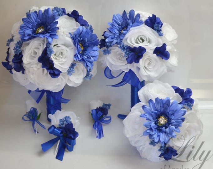 Wedding Bouquets, Bridal Bouquets, Bridesmaid Bouquet, Silk Flower Bouquet, Wedding Flower, 17 Pc Package, Royal Blue, Navy, Lily of Angeles
