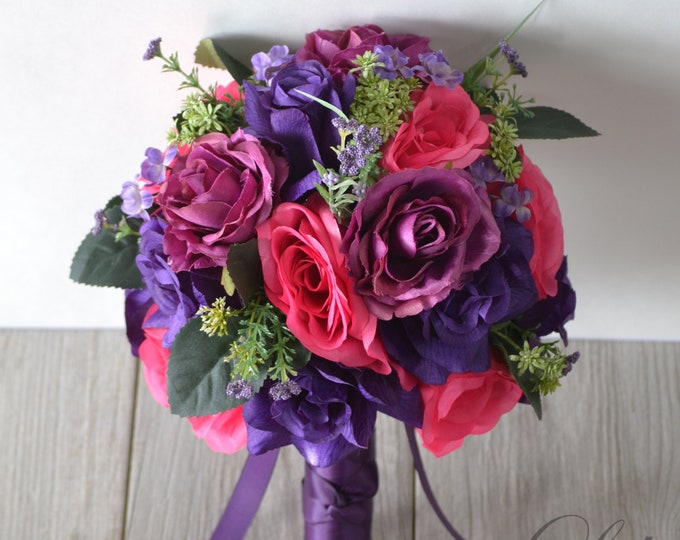 Wedding Bouquet, Bridal Bouquet, Bridesmaid Bouquet, Silk Flower Bouquet, Wedding Flower, mauve, purple, fuchsia, hot pink, Lily of Angeles