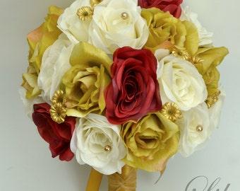 Wedding Bouquet, Bridal Bouquet, Bridesmaid Bouquet, Silk Flower Bouquet, Wedding Flowers, 17 Piece Package, Red, Mustard, Lily of Angeles