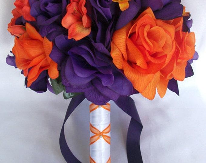 Wedding Bouquet, Bridal Bouquet, Bridesmaid Bouquet, Silk Flower Bouquet, Wedding Flowers, 17 Piece Package, Orange, Purple, Lily Of Angeles