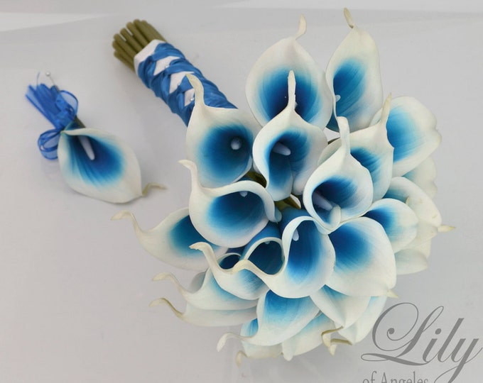 Wedding Bouquet, Wedding Bridal Bouquets, 4 Piece Package, Silk Flowers, Picasso Real Touch Calla Lily, Lilies, ROYAL BLUE, Lily of Angeles
