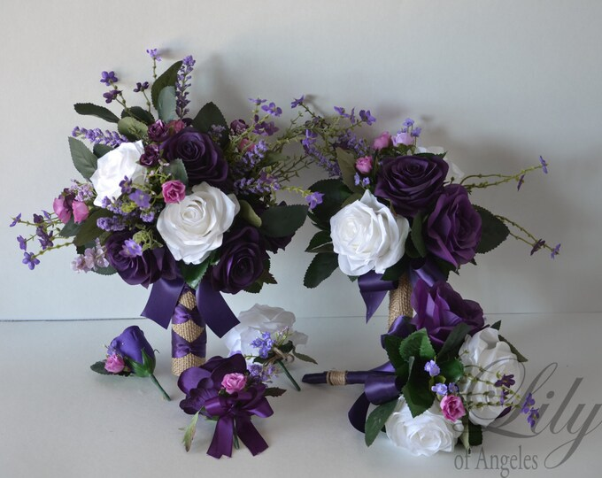 Wedding Bouquet, Bridal Bouquet, Bridesmaid Bouquet, Silk Flower Bouquet, Wedding Flower, purple, plum, lavender, fuchsia, Lily of Angeles
