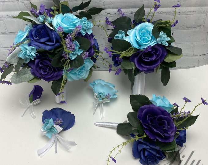 Wedding Bouquet, Bridal Bouquet, Bridesmaid Bouquet, 17 PIECE PACKAGE, Silk Flower, Wedding Flower, Navy, Purple, Turquoise, Lily of Angeles
