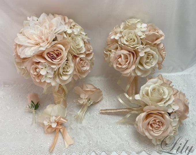 Wedding Bouquet, Bridal Bouquet, Bridesmaid Bouquet, 17 PIECE PACKAGE, Silk Flower, Wedding Flower, Silk Bouquet, Peach, Lily of Angeles