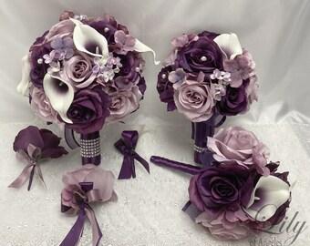 Wedding Bouquet, Bridal Bouquet, Bridesmaid Bouquet, 17 PIECE PACKAGE, Silk Flower, Wedding Flower, Plum, Dusty Lavender, Lily of Angeles