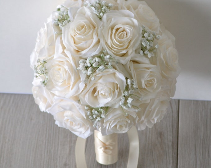 Wedding Bouquet, Bridal Bouquet, Bridesmaid Bouquet, Silk Flower Bouquet, Wedding Flower, ivory, beige, Champagne, off white Lily of Angeles