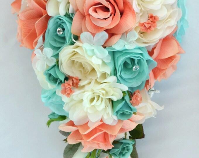 Wedding Bouquet, Bridal Bouquet, Bridesmaid Bouquet, Silk Flower Bouquet, 17pieces, Teardrop, Coral, Robin's Egg Blue, Pool, Lily of Angeles