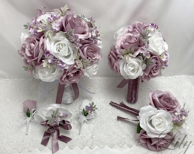 Wedding Bouquet, Bridal Bouquet, Bridesmaid Bouquet, 17 PIECE PACKAGE, Silk Flower, Wedding Flower, Dusty, Dusty Lavender, Lily of Angeles