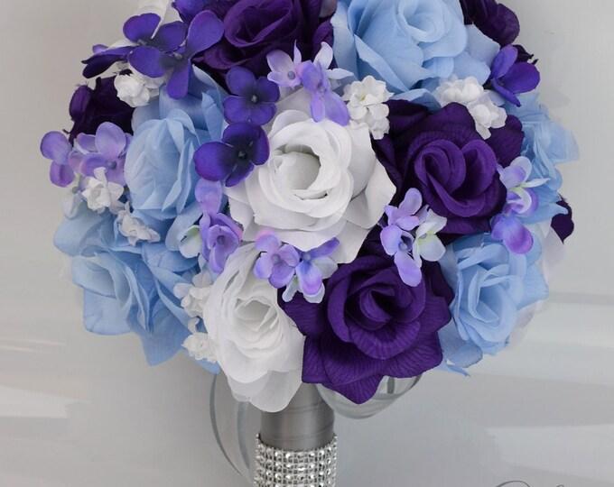 Wedding Bouquet, Silk Flowers, Bridal Party Bouquet, Ceremony, Decoration, Centerpieces, 17 Piece Package, Purple, Blue, Lily of Angeles