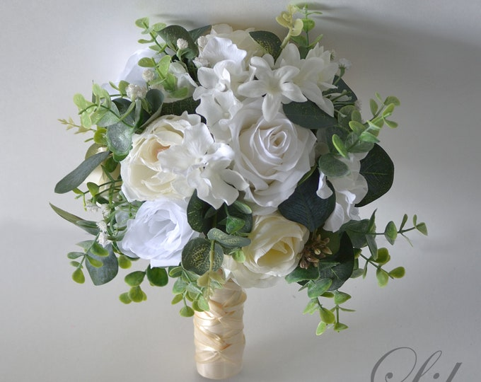 Wedding Bouquet, Bridal Bouquet, Bridesmaid Bouquet, Silk Flower Bouquet, Wedding Flower, ivory, beige, white, Champagne, Lily of Angeles