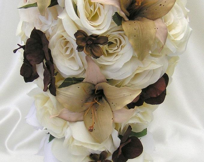 Wedding Bouquet, Bridal Bouquet, Bridesmaid Bouquet, Silk Flower Bouquet, Wedding Flowers, 17 Piece Package, Ivory, Cream, Lily Of Angeles