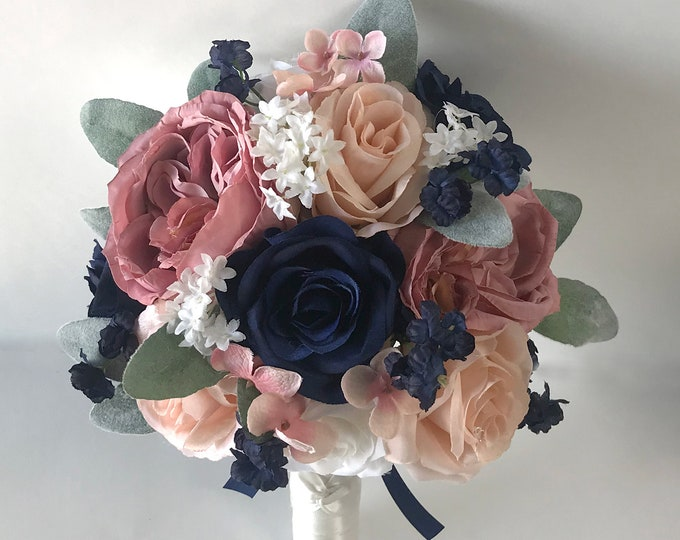 Wedding Bouquet, Bridal Bouquet, Bridesmaid Bouquet, Silk Flower Bouquet, Wedding Flower, Mauve, Blush, Navy, Dusty Pink, Lily of Angeles