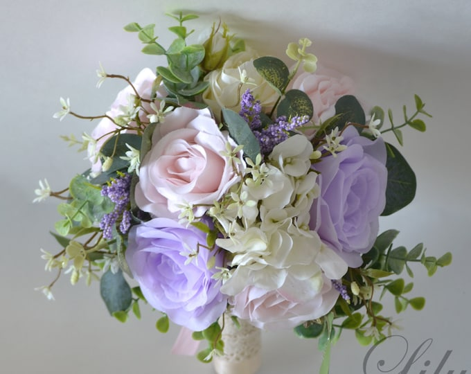 Wedding Bouquet, Bridal Bouquet, Bridesmaid Bouquet, Silk Flower Bouquet, Wedding Flower, baby pink, pink, lavender, ivory, Lily of Angeles