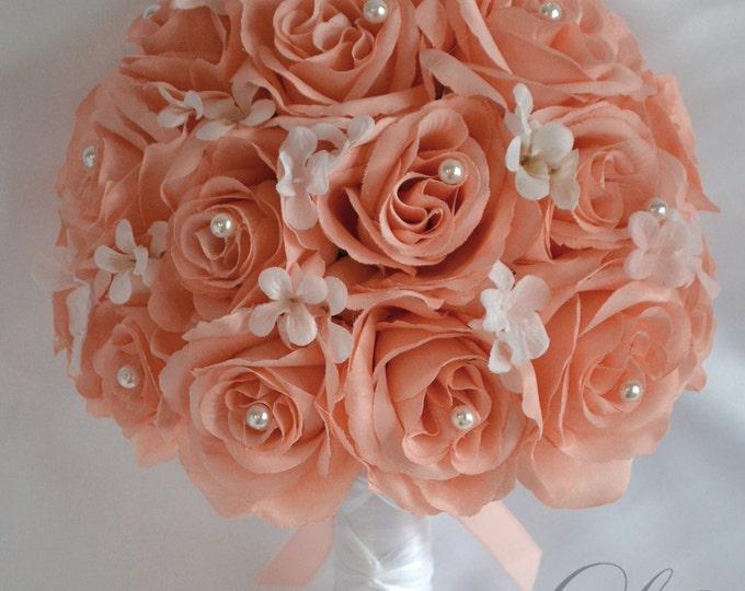 Wedding Bouquet, Bridal Bouquet, Bridesmaid Bouquet, Silk Flower Bouquet, Wedding Flowers, 17 piece package, Peach, White, Lily of Angeles