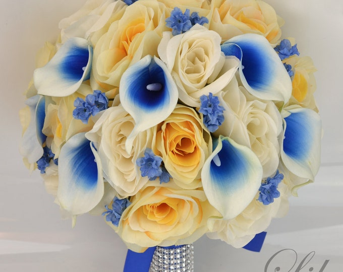 Wedding Bouquet, Bridal Bouquet, Bridesmaid Bouquet, Silk Flower Bouquet, Wedding Flower, 17 Pcs, Royal Blue, Ivory, Yellow, Lily of Angeles