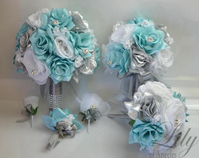 Wedding Bouquet, Bridal Bouquet, Bridesmaid Bouquet, Silk Flower Bouquet, Wedding Flower, 17 Piece Package, Spa, Pool, Aqua, Lily of Angeles