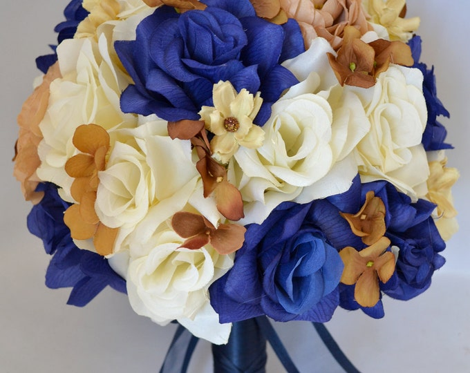 Wedding Bouquet, Bridal Bouquet, Bridesmaid Bouquet, Silk Flower Bouquet, Wedding Flower, 17 Piece Package, Champagne, Blue, Lily Of Angeles