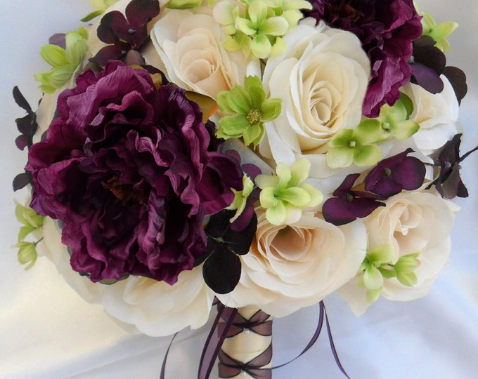Wedding Bouquet, Bridesmaid Bouquet, Wedding Flower, Silk Flower Bouquet, Bouquet, 17 Piece Set, Plum, Purple, Green, Ivory, Lily Of Angeles