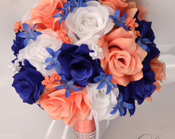 Wedding Bouquets, Bouquet, Silk Flowers, Bridal bouquet, Ceremony Decoration, 17 Piece Package, CORAL, DARK BLUE Navy Royal, Lily of Angeles